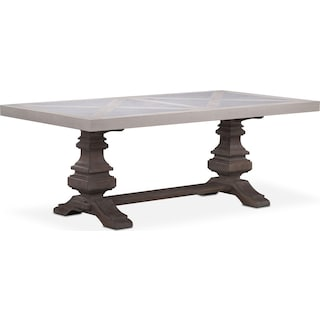 """Lancaster 80"""" Marble Top Table - Water White with Parchment Urn Base"""