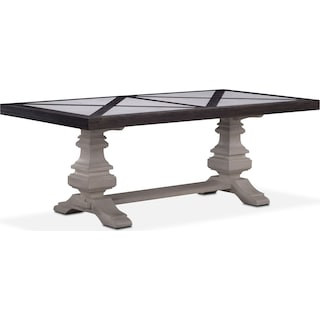 """Lancaster 80"""" Marble Top Table - Truffle with Water White Urn Base"""