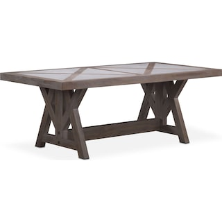 "Lancaster 82"" Marble Top Table with Farmhouse Base - Parchment"