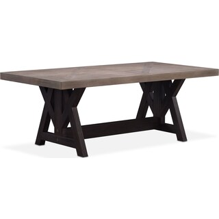 "Lancaster 82"" Wood Top Table - Parchment with Truffle Farmhouse Base"