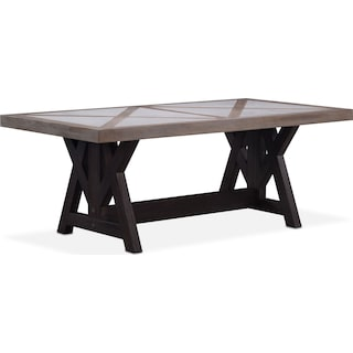 """Lancaster 80"""" Marble Top Table - Parchment with Truffle Farmhouse Base"""