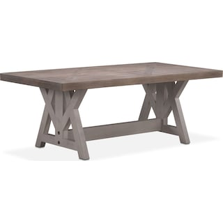 "Lancaster 82"" Wood Top Table - Parchment with Water White Farmhouse Base"