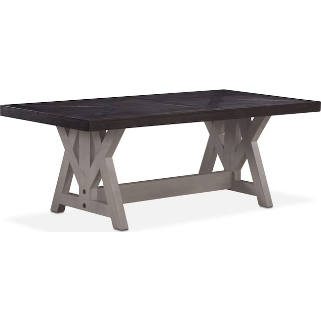 "Dining Room Furniture - Lancaster 82"" Wood Top Table - Truffle with Water White Farmhouse Base"