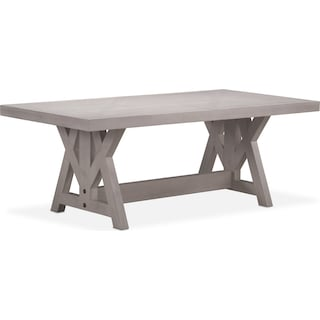 """Lancaster 82"""" Wood Top Table with Farmhouse Base - Water White"""