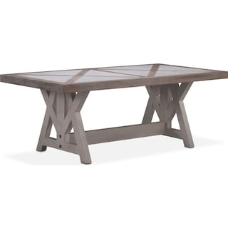 """Lancaster 80"""" Marble Top Table - Parchment with Water White Farmhouse Base"""