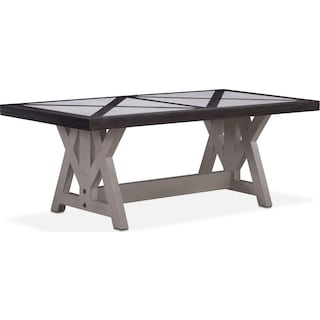 "Lancaster 80"" Marble Top Table - Truffle with Water White Farmhouse Base"