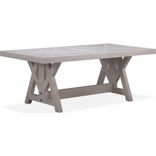 "Lancaster 80"" Marble Top Table with Farmhouse Base - Water White"