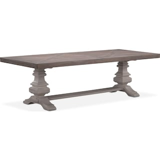 "Lancaster 104"" Wood Top Table - Parchment with Water White Urn Base"