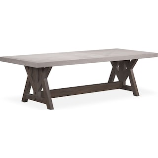"Lancaster 120"" Wood Top Table - Water White with Parchment Farmhouse Base"