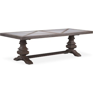 "Lancaster 104"" Marble Top Table with Urn Base - Parchment"