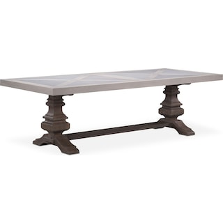 "Lancaster 104"" Marble Top Table - Water White with Parchment Urn Base"