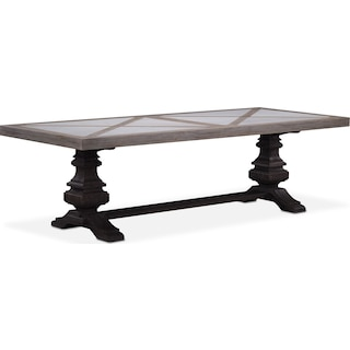 "Lancaster 104"" Marble Top Table - Parchment with Truffle Urn Base"