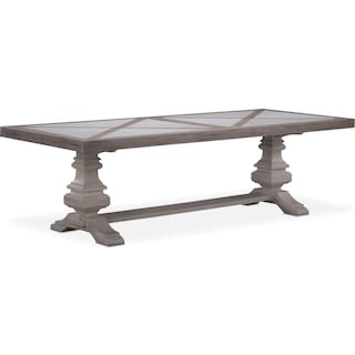 "Lancaster 102"" Marble Top Table - Parchment with Water White Urn Base"