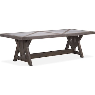 "Lancaster 104"" Marble Top Table with Farmhouse Base - Parchment"