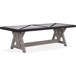 """Lancaster 104"""" Marble Top Table - Truffle with Water White Farmhouse Base"""