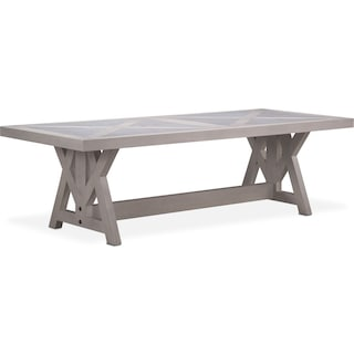 "Lancaster 104"" Marble Top Table with Farmhouse Base - Water White"