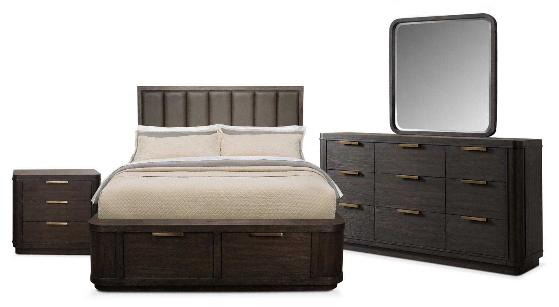 Bedroom Furniture - Malibu 6-Piece Queen Low Upholstered Storage Bedroom Set - Umber