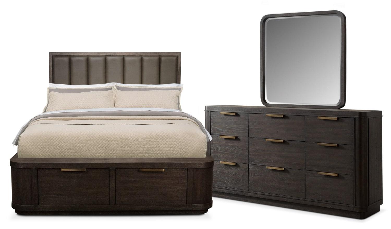 Malibu 5 Piece Queen Low Upholstered Storage Bedroom Set   Umber
