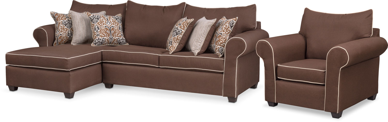 Carla 2-Piece Sectional and Chair Set - Chocolate