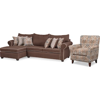 Carla 2-Piece Sectional and Accent Chair Set - Chocolate