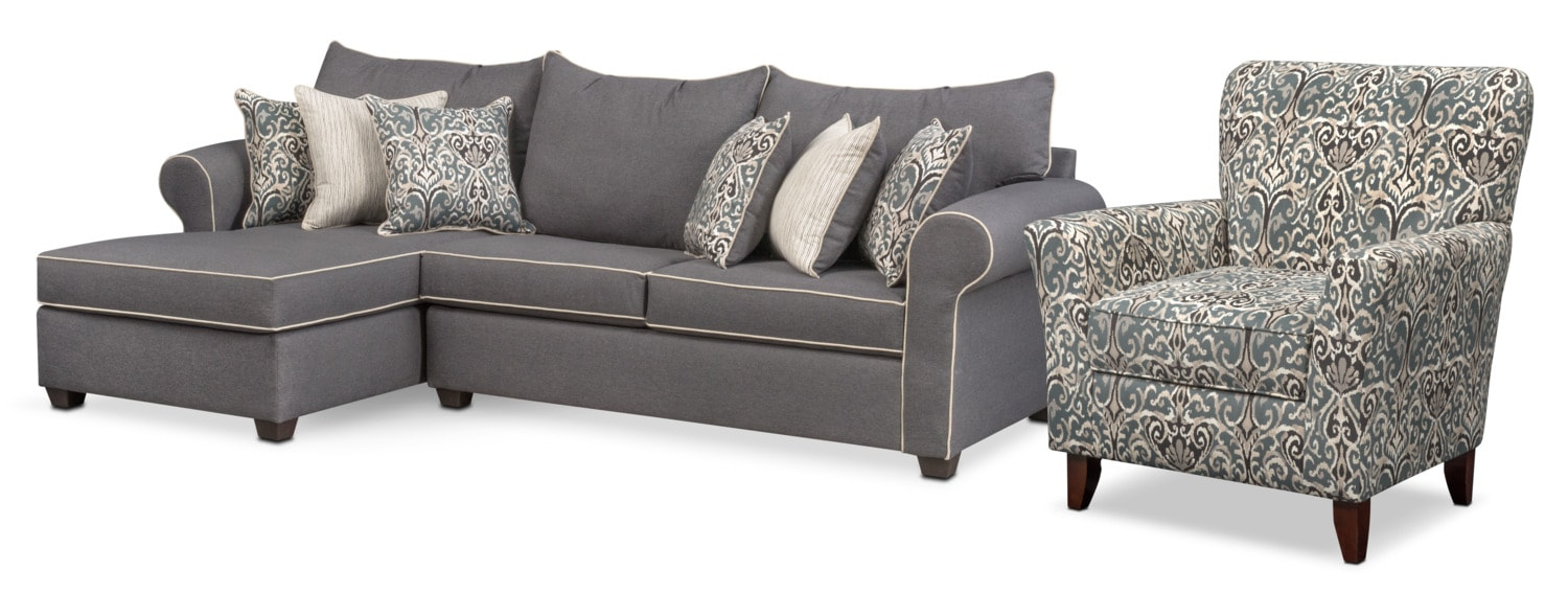 Living Room Furniture - Carla 2-Piece Sectional and Accent Chair Set - Gray  sc 1 st  Value City Furniture : value city furniture sectionals - Sectionals, Sofas & Couches
