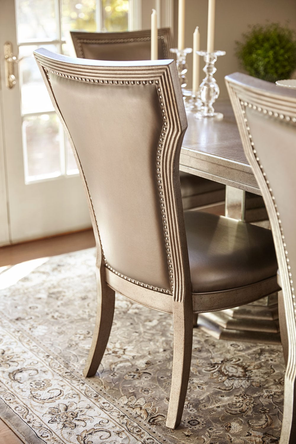 Angelina Double Pedestal Table And 4 Side Chairs