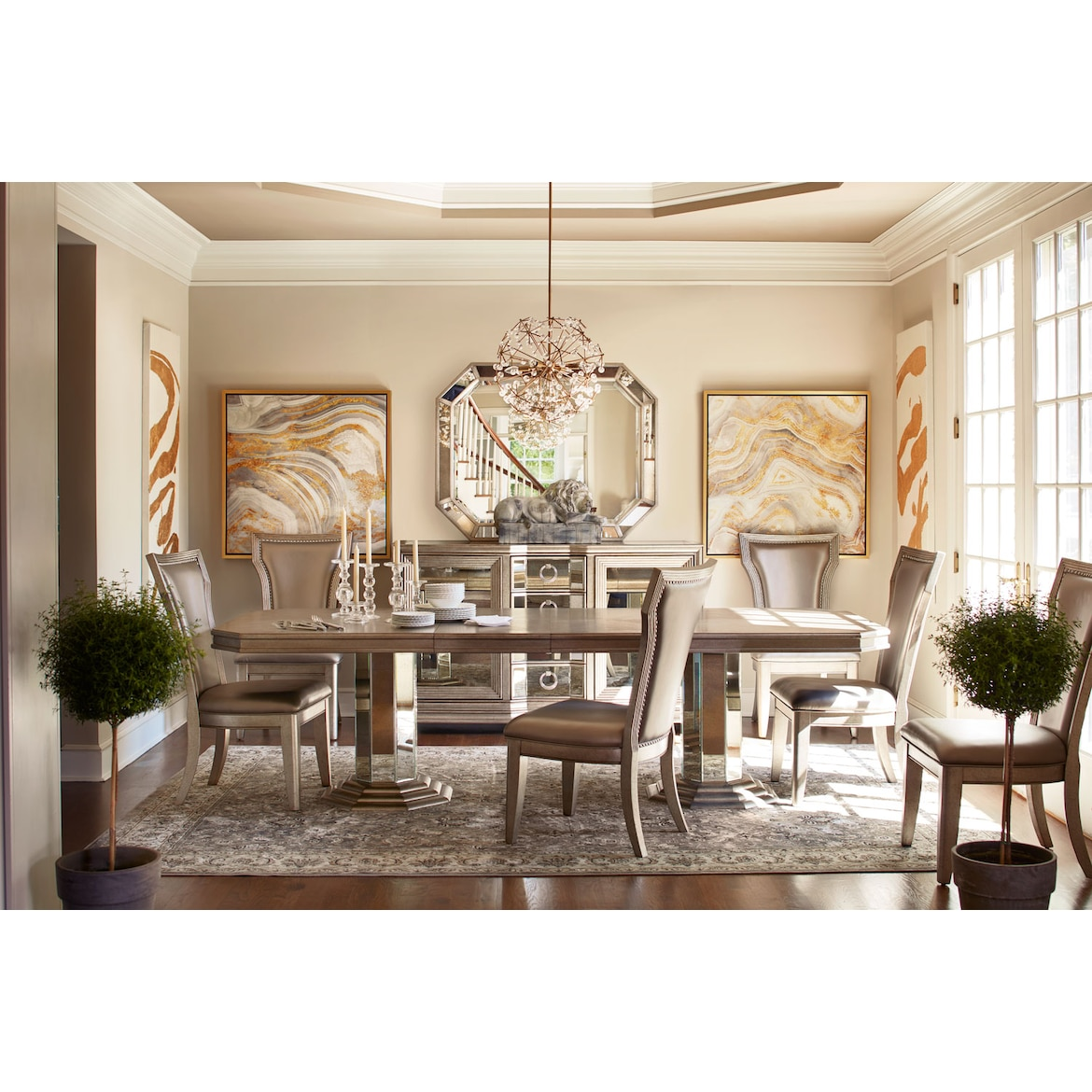 7217a50e8e6c Angelina Double-Pedestal Table and 6 Side Chairs - Metallic | Value ...