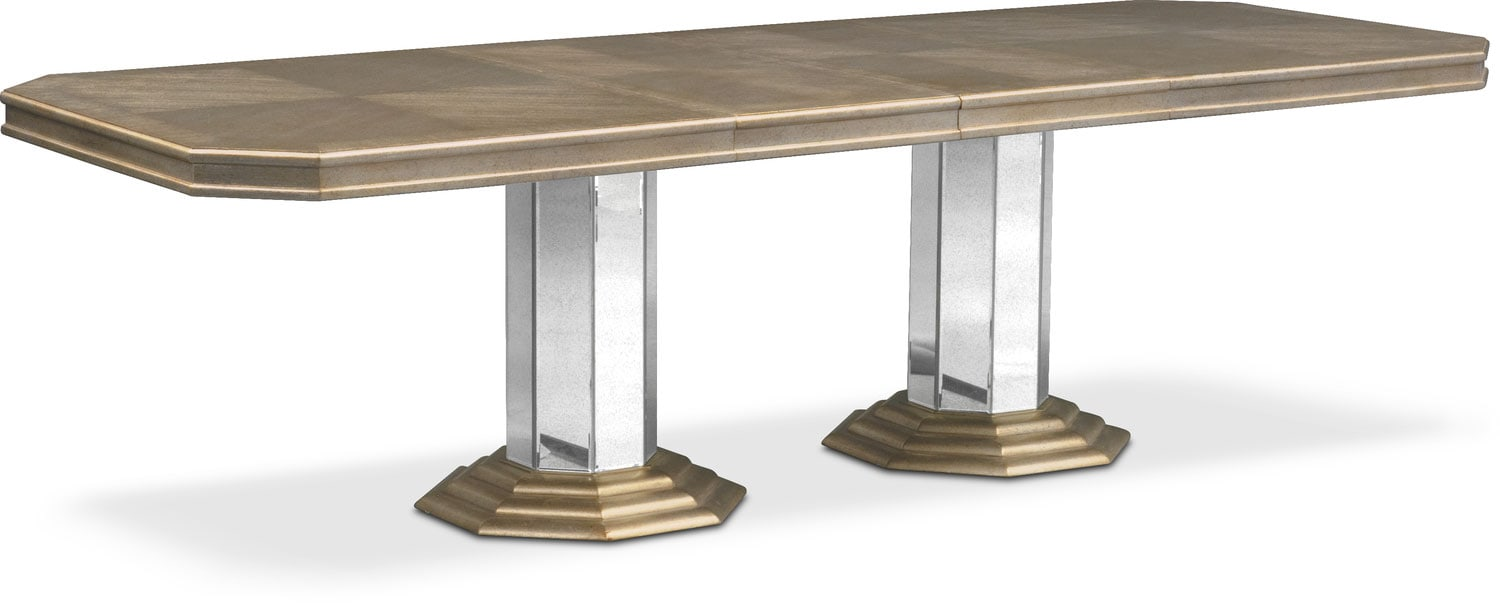 Dining Room Furniture   Angelina Double Pedestal Table   Metallic