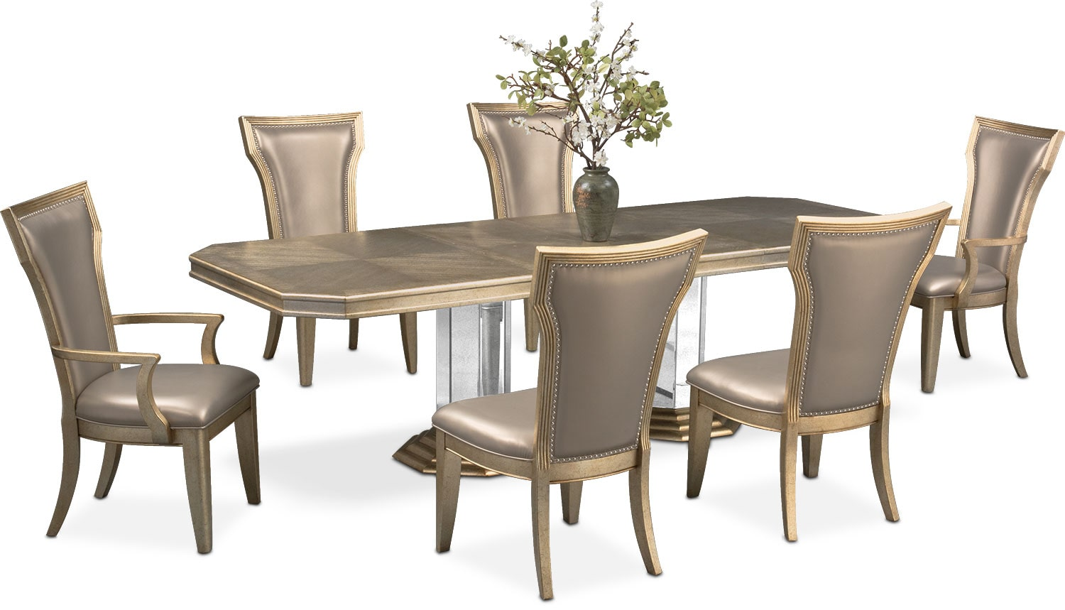 Angelina Double Pedestal Table, Two Arm Chairs And 4 Side Chairs   Metallic Part 95