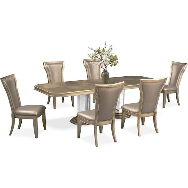 Dining Room Furniture - Angelina Double-Pedestal Table and 6 Side Chairs - Metallic