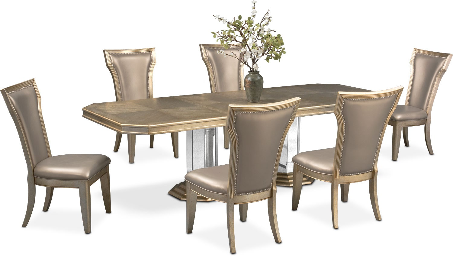 Angelina Double Pedestal Table And 6 Side Chairs   Metallic