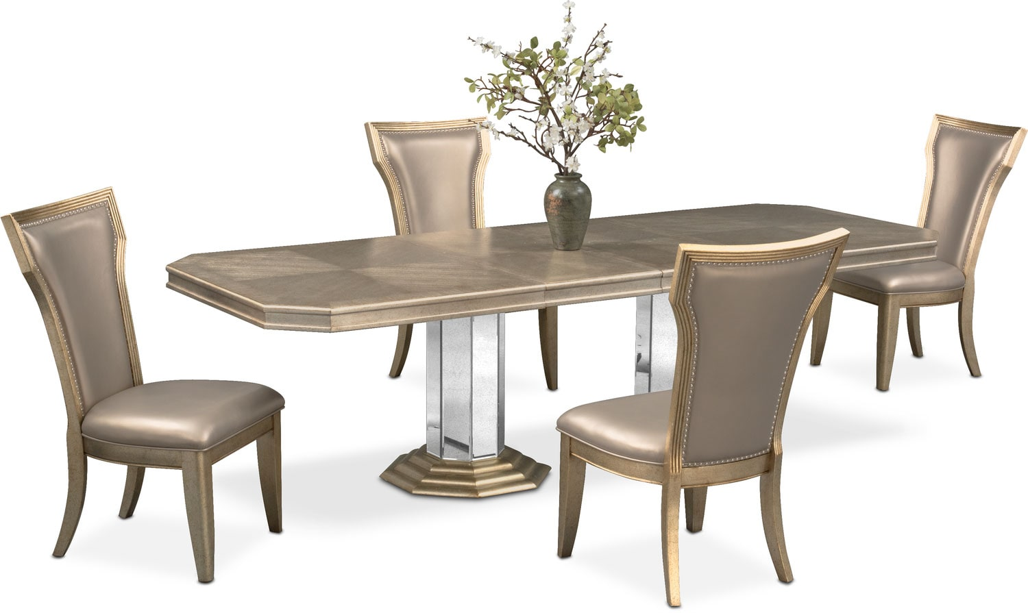 Dining Room Furniture - Angelina Double-Pedestal Table and 4 Side Chairs - Metallic