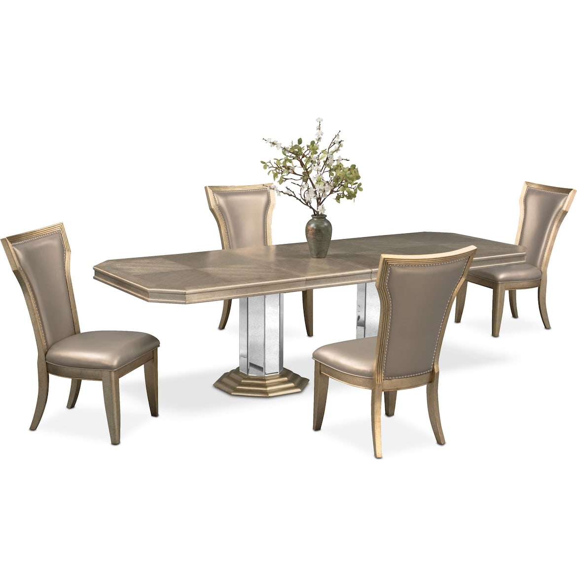 a2bbbf62a946 Angelina Double-Pedestal Table and 4 Side Chairs - Metallic | Value ...