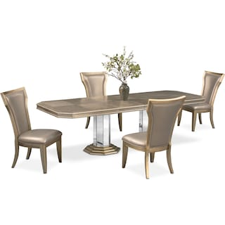 Angelina Double-Pedestal Table and 4 Side Chairs - Metallic
