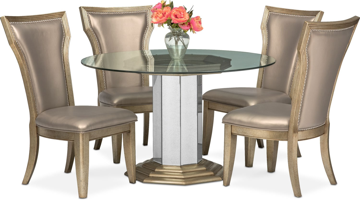 angelina round table and 4 side chairs metallic