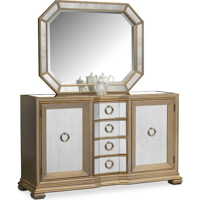 Dining Room Furniture - Angelina Sideboard with Mirror - Metallic