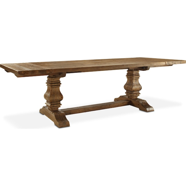 churchill wood top dining table - chestnut | value city furniture