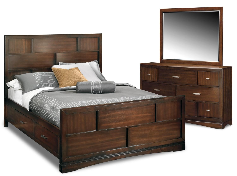 Bedroom Furniture - Toronto 5-Piece King Storage Bedroom Set - Pecan