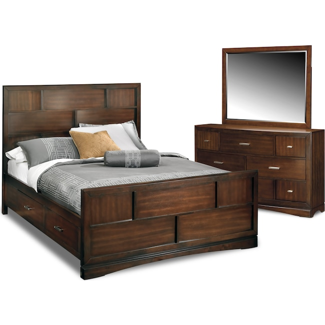 Bedroom Furniture - Toronto 5-Piece Queen Storage Bedroom Set - Pecan