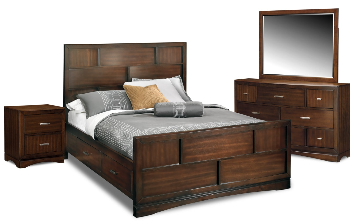 Toronto 6 piece queen storage bedroom set pecan value - Bedroom sets with drawers under bed ...
