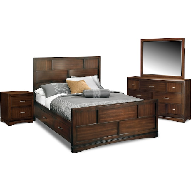 wood chest set queen bed shop bedroom furniture roundhill finish broval sets mirror stands storage night light room espresso dresser home