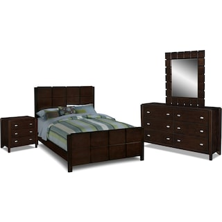 Mosaic 6-Piece King Bedroom Set - Dark Brown