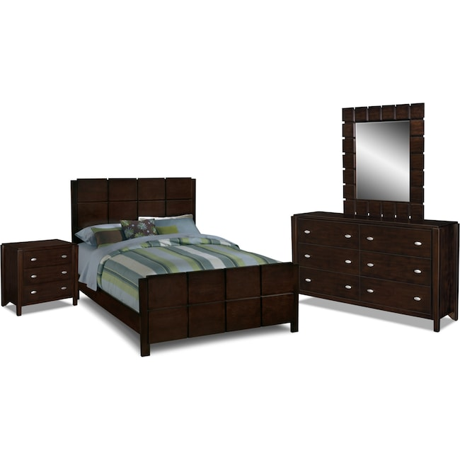 Bedroom Furniture - Mosaic 6-Piece Queen Bedroom Set - Dark Brown