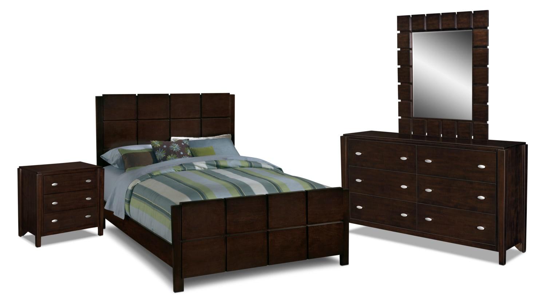 Bedroom Furniture   Mosaic 6 Piece Queen Bedroom Set   Dark Brown