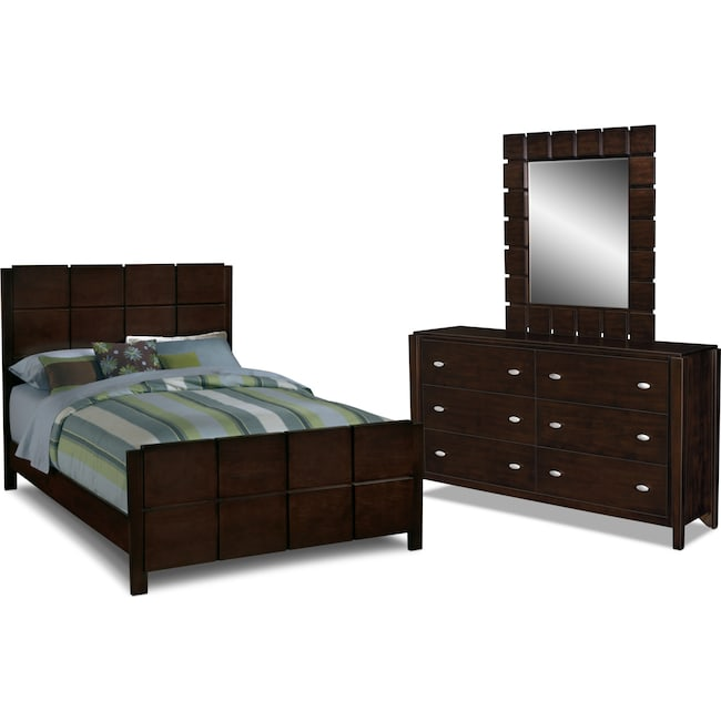 Bedroom Furniture - Mosaic 5-Piece Queen Bedroom Set - Dark Brown