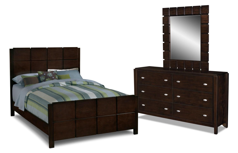 Captivating Mosaic 5 Piece Queen Bedroom Set   Dark Brown