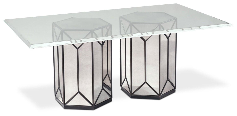 Tables rustic solid wood trestle pedestal base harvest dining table - Domaine Rectangular Pedestal Table Mirror