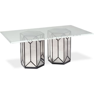 Domaine Rectangular Pedestal Table - Mirror