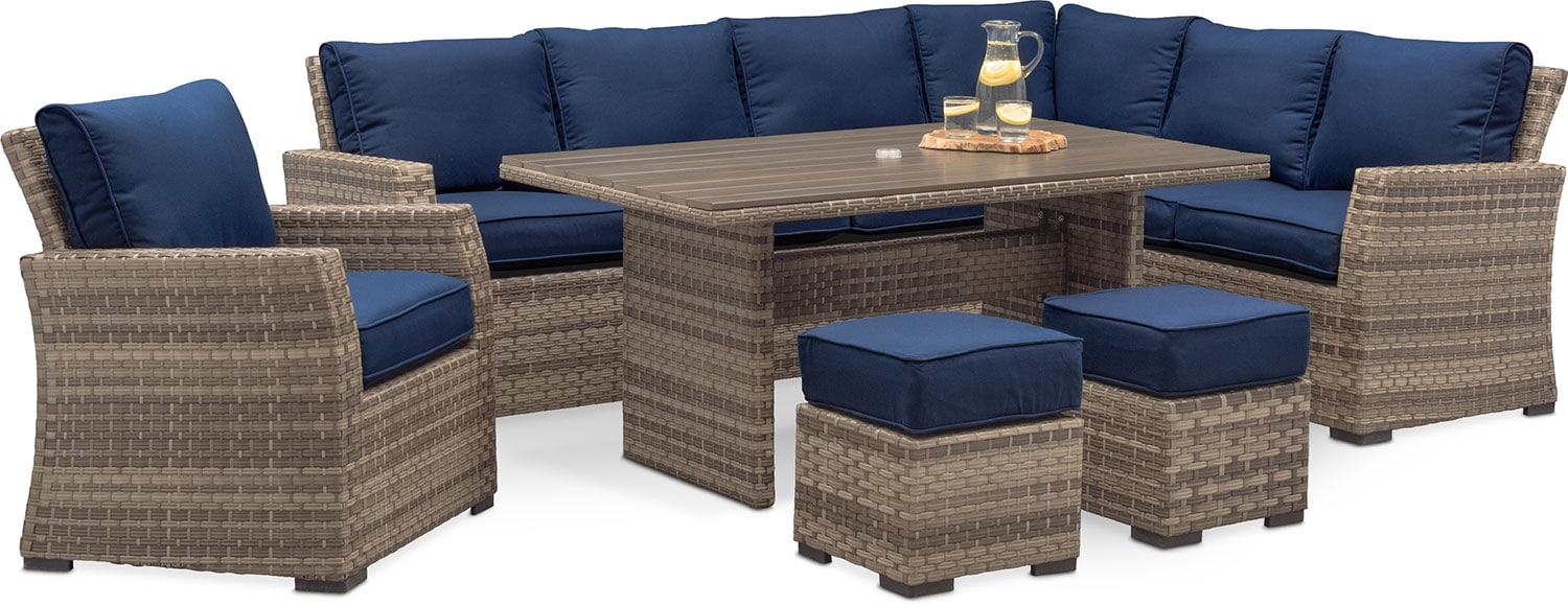 Antigua 6-Piece Outdoor Dining Set - Blue
