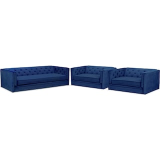 Gabe Sofa and Two Cuddler Chairs Set - Indigo
